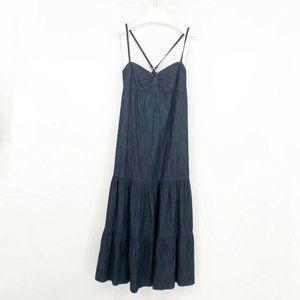 Loft Chambray Denim Maxi Dress Cross Back Long 6